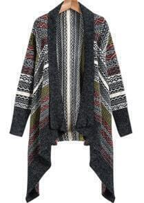Grey Long Sleeve Tribal Print Knit Cardigan