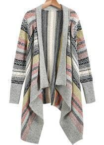Light Grey Long Sleeve Tribal Print Knit Cardigan