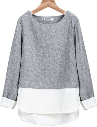 Grey Contrast White Long Sleeve Loose Blouse