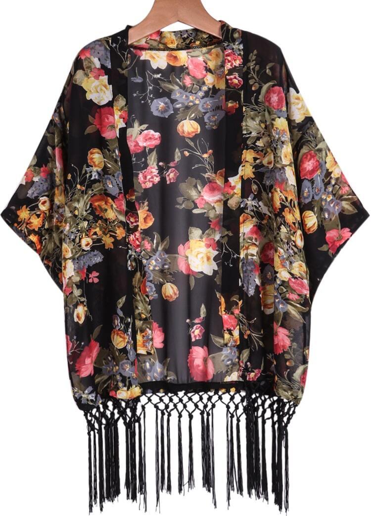 Black Long Sleeve Floral Tassel Chiffon Kimono
