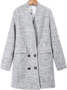 Grey Long Sleeve Pockets Woolen Coat