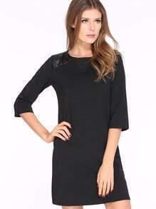 Black Three Quarter Length Sleeve Shift Dress
