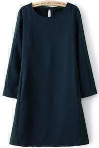 Navy Round Neck Long Sleeve Loose Dress