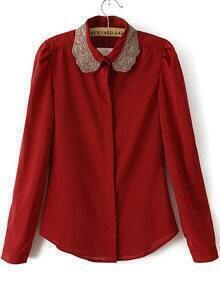 Red Lapel Long Sleeve Embroidered Blouse