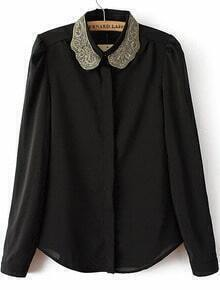 Black Lapel Long Sleeve Embroidered Blouse