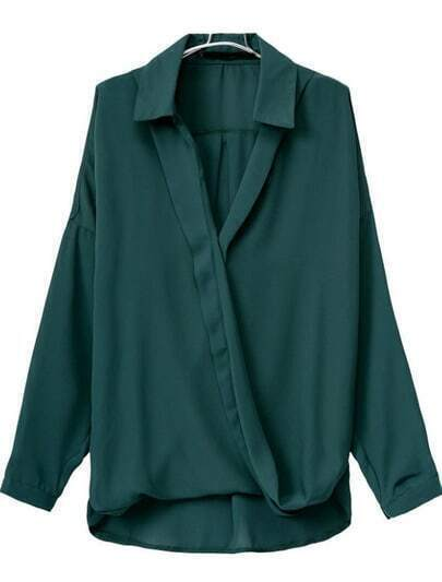 Green V Neck Long Sleeve Loose Blouse