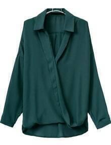 Green V Neck Long Sleeve Loose Blouse