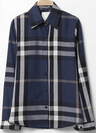 Navy Lapel Long Sleeve Plaid Loose Blouse