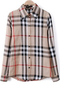 Apricot Lapel Long Sleeve Plaid Loose Blouse