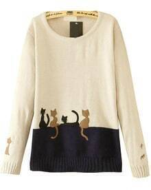 White Long Sleeve Cats Print Knit Sweater