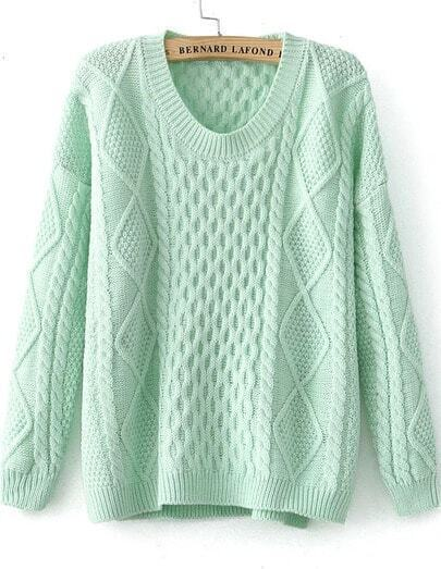 Green Long Sleeve Diamond Patterned Knit Sweater