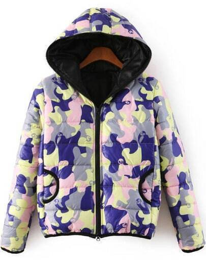 Purple Hooded Long Sleeve Camouflage Coat