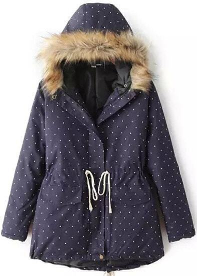 Navy Hooded Long Sleeve Drawstring Polka Dot Coat