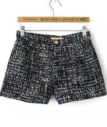 Black Sequined Tweed Shorts