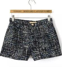 Black Sequined Tweed Shorts