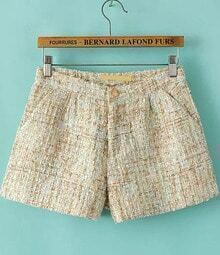Apricot Sequined Tweed Shorts