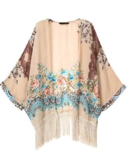 Kimono orné de franges mi-manche motif floral