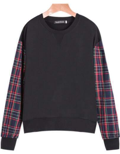 Black Contrast Plaid Long Sleeve Loose Sweatshirt