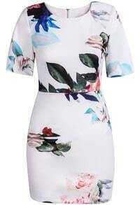 White Short Sleeve Slim Floral Bodycon Dress