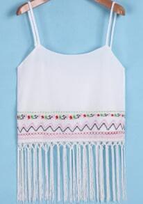 White Spaghetti Strap Embroidered Tassel Cami Top