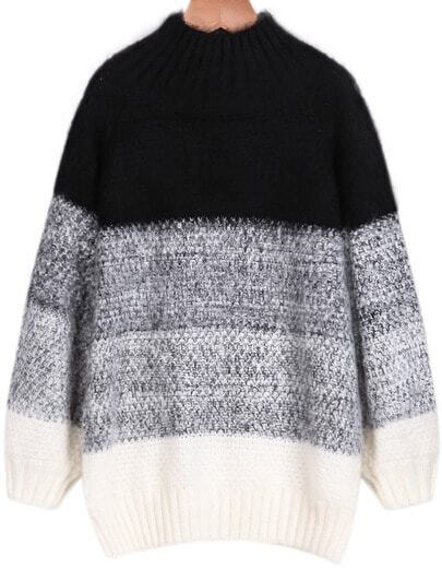 Black Ombre High Neck Loose Knit Sweater