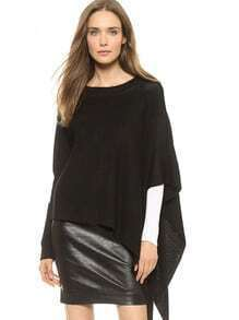 Black Cape Style Asymmetric Loose Sweater