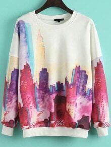 White Long Sleeve Building Print Sweatshirt