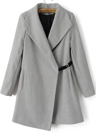 Grey Lapel Long Sleeve Woolen Trench Coat