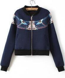 Blue Long Sleeve Birds Print Crop Jacket