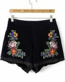Black High Waist Embroidered Shorts