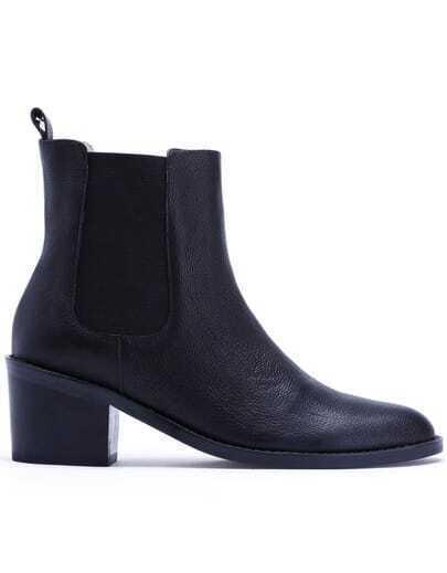 Black Elastic Mid Heel Leather Shoes