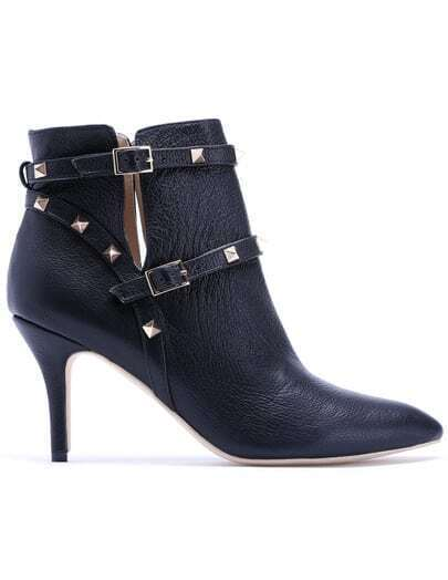 Black High Heel Rivet Leather Shoes