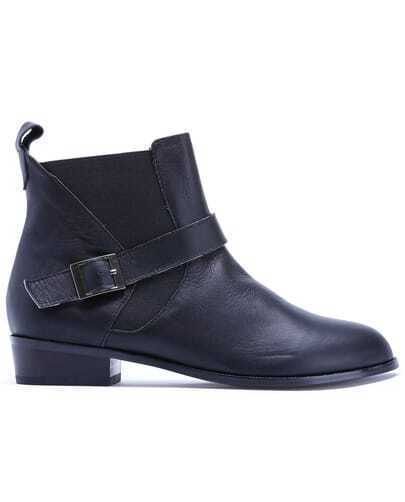 Black Elastic Buckle Leather Shoes