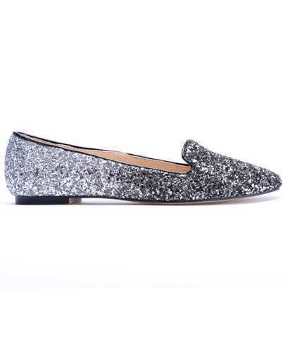 Silver Low Heel Sequined Spiked Shoes