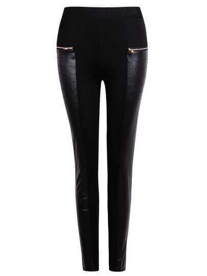 Black Contrast PU Leather Zipper Pant