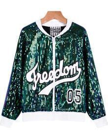 Green Long Sleeve Sequined Letters Print Jacket