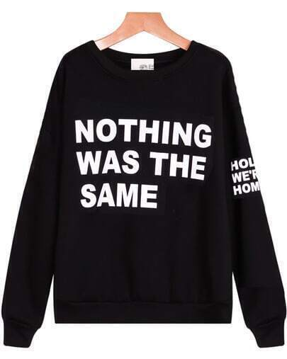 Black Long Sleeve Letters Print Loose Sweatshirt