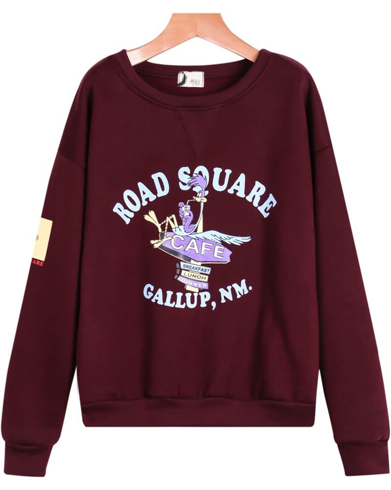 Wine red long sleeve cartoon letters print sweatshirt for Letters for sweatshirts