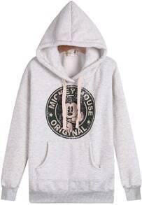Grey Hooded Long Sleeve Mickey Print Sweatshirt