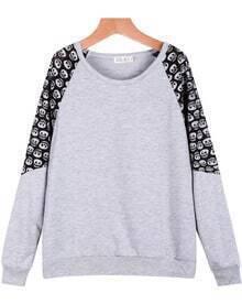 Grey Contrast Lace Skull Print Loose Sweatshirt