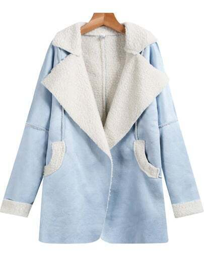Blue Lapel Long Sleeve Pockets Loose Coat