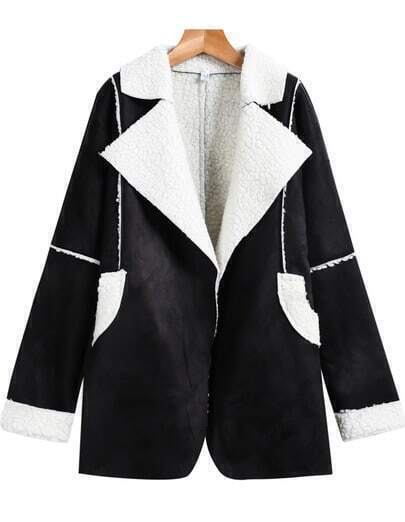 Black Lapel Long Sleeve Pockets Loose Coat