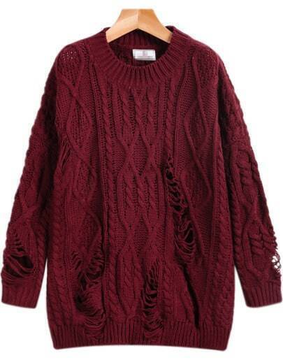 Red Long Sleeve Ripped Cable Knit Sweater