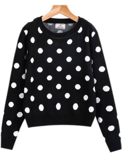 Black Long Sleeve Polka Dot Knit Sweater