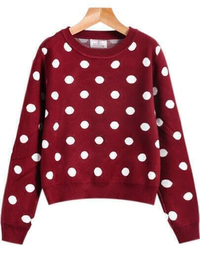 Red Long Sleeve Polka Dot Knit Sweater