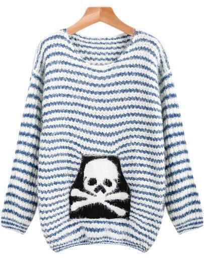 Blue Long Sleeve Striped Skull Print Mohair Sweater