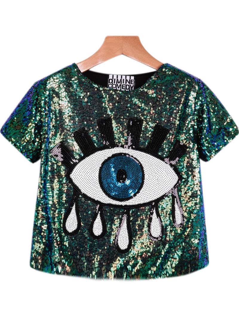 green short sleeve sequined eye print blouse shein sheinside. Black Bedroom Furniture Sets. Home Design Ideas