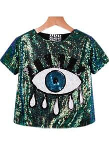 Green Short Sleeve Sequined Eye Print Blouse