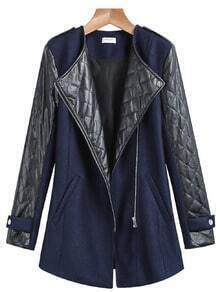 Blue Long Sleeve PU Leather Zipper Coat