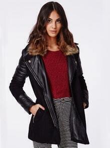 Black Faux Fur Lapel Contrast PU Leather Coat